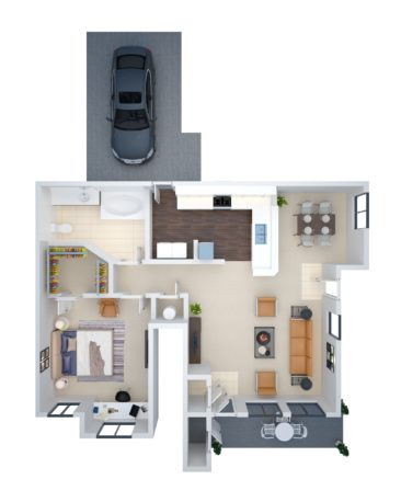 The A2 Floor Plan With Attached Garage, 883 Square Feet
