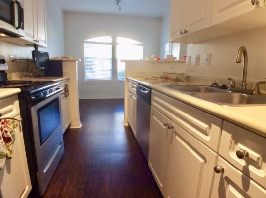 The kitchen in the A3 & A3G apartments features stainless appliances, white cabinetry and LED lighting. It opens up into a dining area with an arched double windwo allowing a lot of light in. Kitchen and dining both have an elegant dark hardwood look flooring.